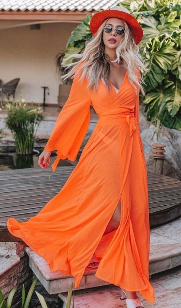 Saída de praia longa neon laranja