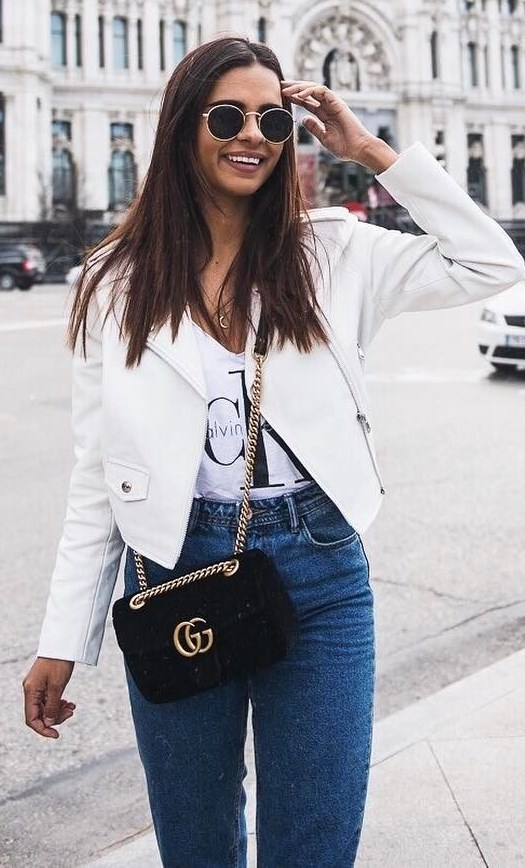 great outfit idea: white leather jacket + tee + bag + jeans