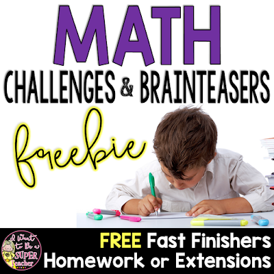 FREE Math challenges for grades 2-4 perfect for homework, fast finishers, small math groups, or math contracts for advanced students