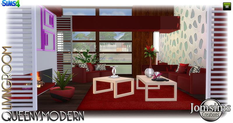 My sims 4 blog queeny modern living room set by jomsims for Modern living room sims 4