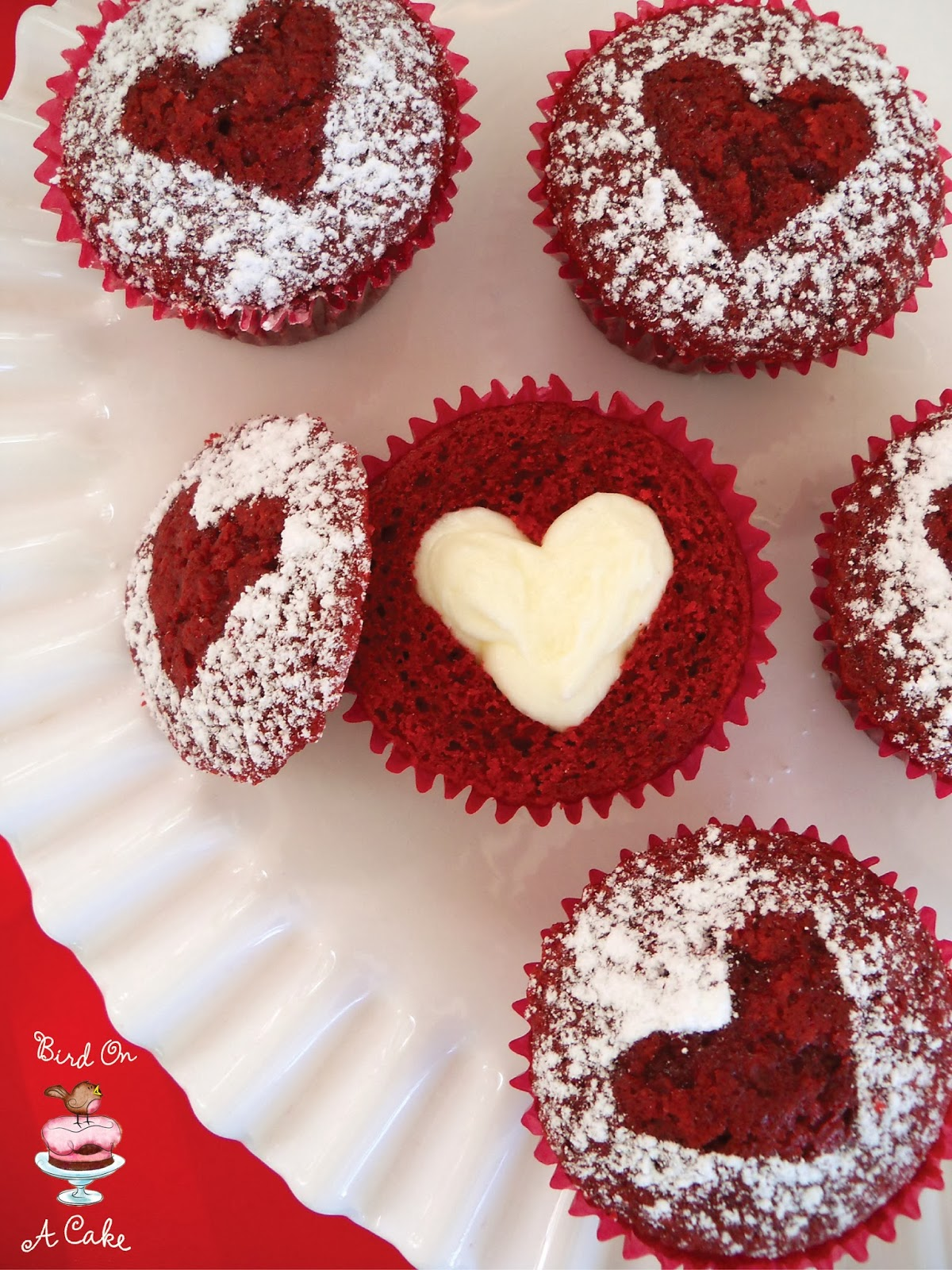 Bird On A Cake Hidden Heart Red Velvet Cupcakes