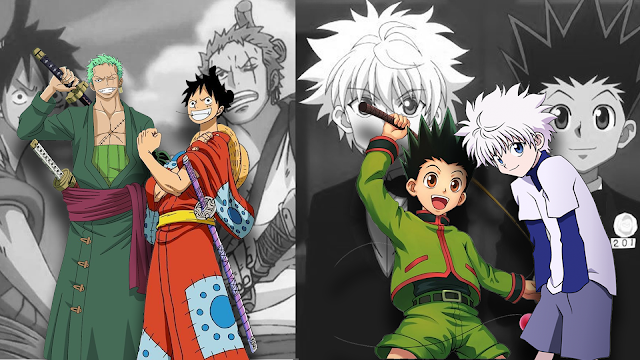 One Piece anime friends green swordsman Zoro and Luffy with his strawhat along with spiky haired anime boy Gon and cat-eyed Killua from Hunter x Hunter