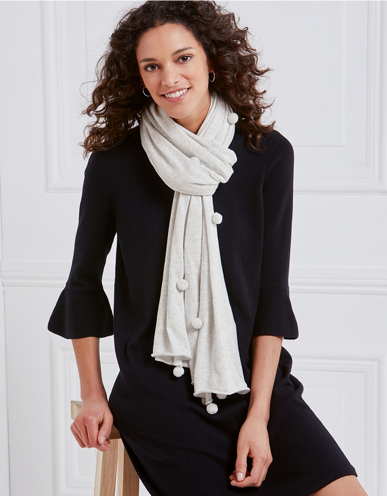 The white company cotton pom pom scarf