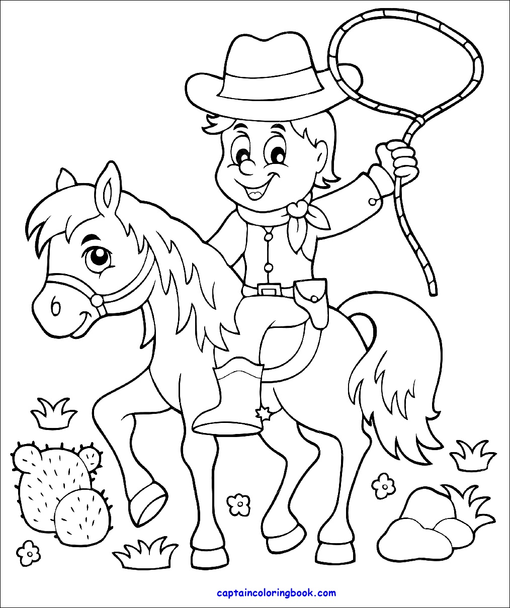 Coloring Book Pdf Coloring Book Cowboy On Horse