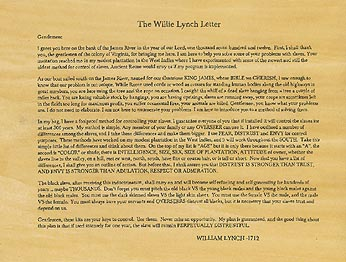 This Black On Me: The Willie Lynch Letter
