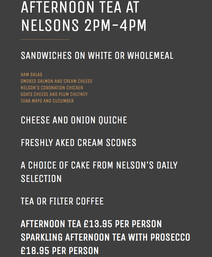 Nelson's at the Park, Swarland - Review - afternoon tea menu