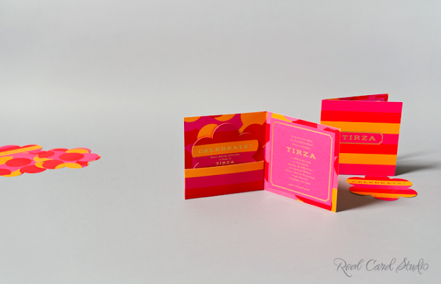 Fashionista, luxury hand bag inspired, diecut flower, bold stripes in fuchsia, tangerine and geranium red, gold foil printing