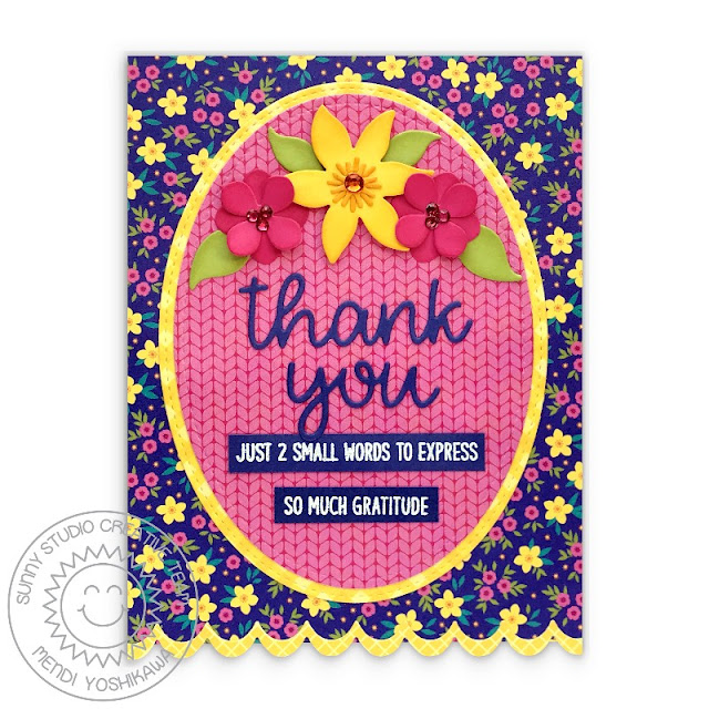Sunny Studio Blue Floral Flower Scalloped Cable Knit Card (using Words of Gratitude Stamps, Thank You Words, Botanical Backdrop, Icing Border & Stitched Oval Dies)