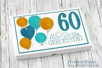 Tassenküchleinbox; Geldgeschenk 60. Geburtstag; Tassenkuchen Verpackung; Stampinup Ballon Builders; Stampinup Rabatt; Stempel-Biene; Männergeschenk; Geldgeschenk basteln