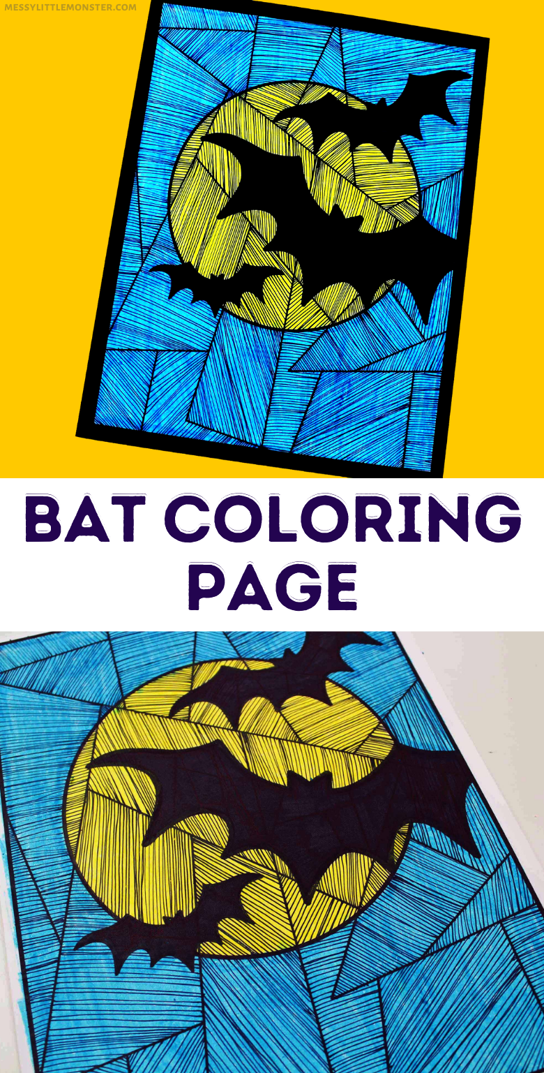 Printable bat colouring page.  Halloween bat craft for kids. Line study.