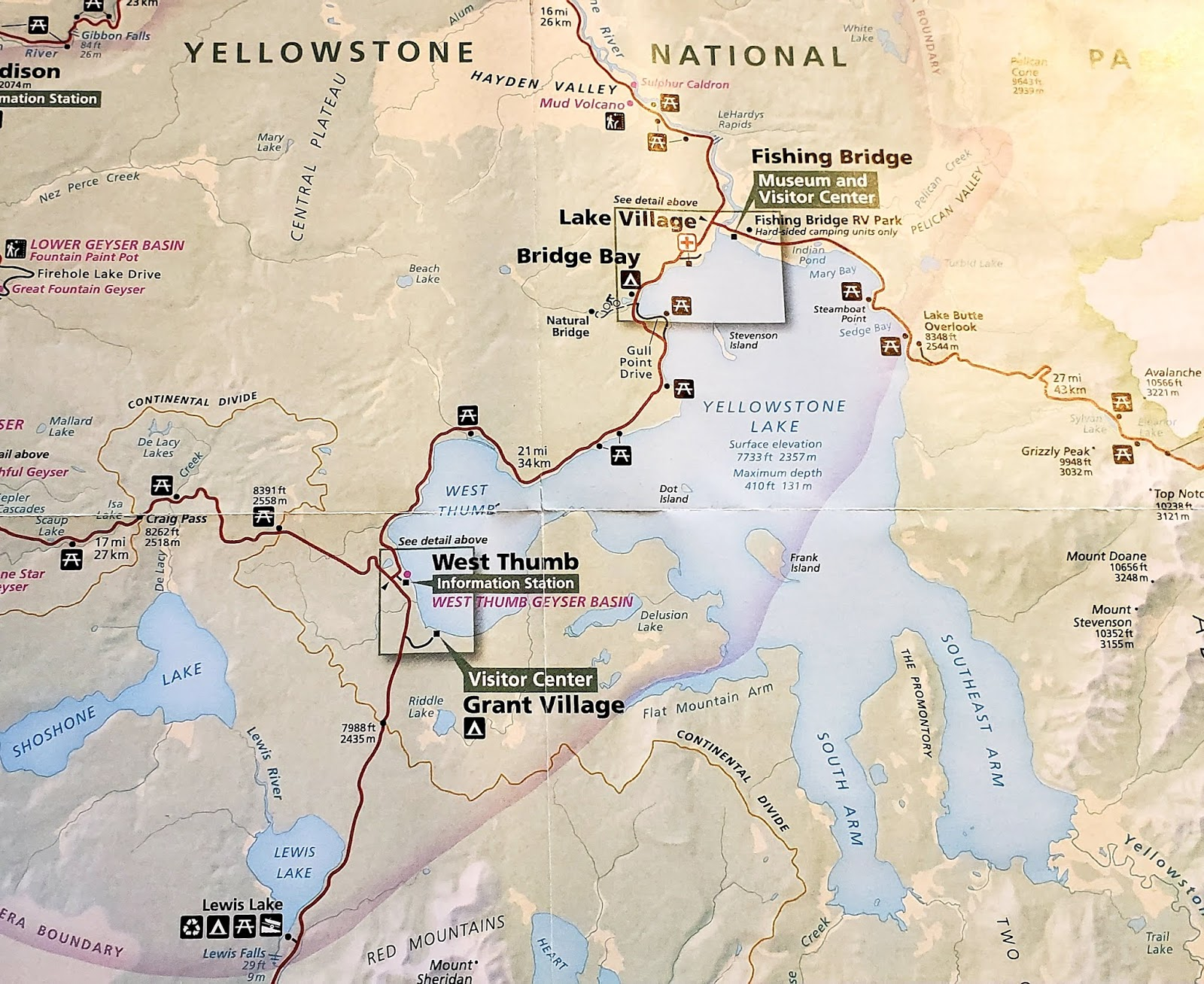 Eas-On Down The Road: YNP: West Thumb Geyser Basin ... on map of grand prismatic spring, map of yellowstone geysers, map of mud volcano, map of firehole canyon drive, map of mystic falls, map of yellowstone national park, map of old faithful area, map of yellowstone river,