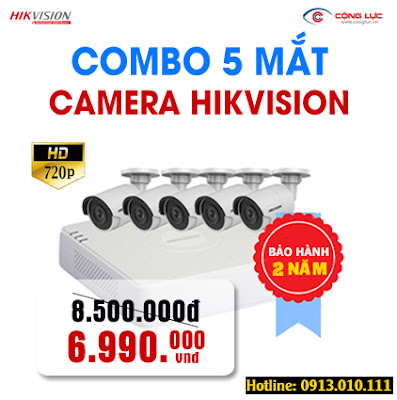 Trọn bộ 5 mắt Camera Hikvision 1.0 megapixel