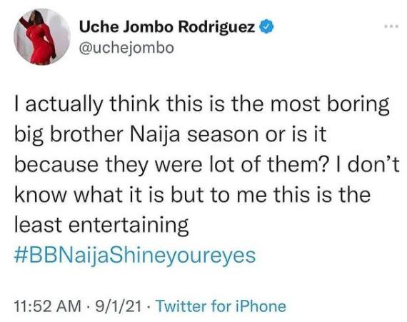 #BBNaija This year Big Brother is boring- Uche Jombo