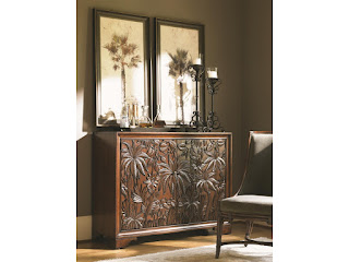 tropical-inspired carved rosewood chest
