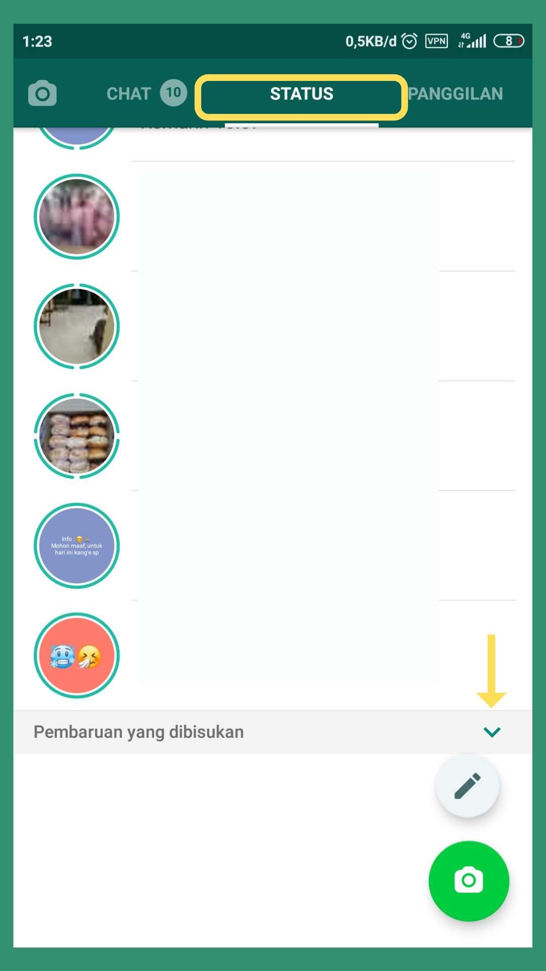 cara mengembalikan status whatsapp yang dibisukan