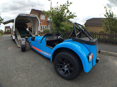 The R500 being loaded onto the Caterham van to go to it's second home!