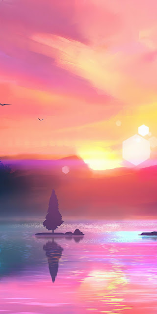 Pink clouds, sky, sunset, lake, mountain wallpaper