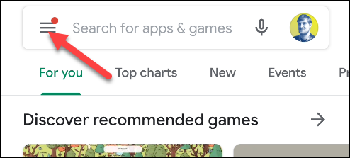 google play اضغط على أيقونة القائمة