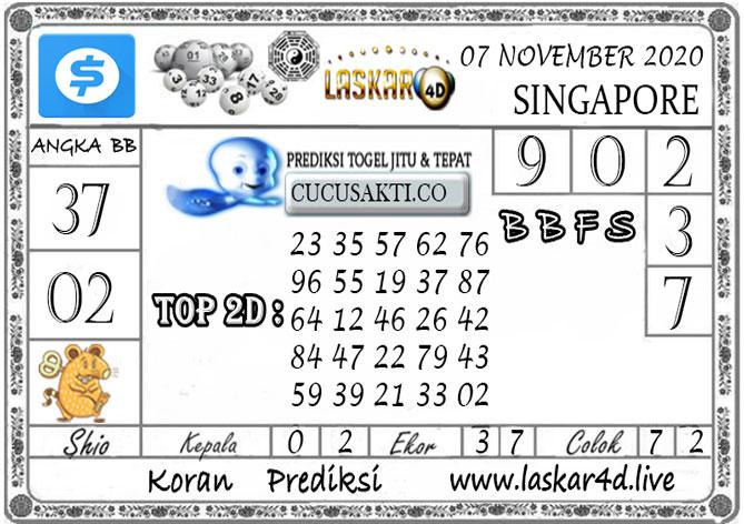 Prediksi Togel SINGAPORE LASKAR4D 07 NOVEMBER 2020