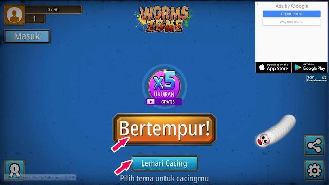 Cara Main Worms Zone di PC dan Hp tanpa Install Aplikasi