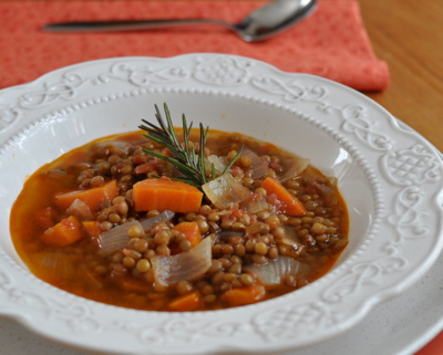 Greek Lentil Soup ♥ AVeggieVenture.com, a simple lentil soup, cooked in broth scented with bay leaf, garlic, rosemary and a surprise ingredient, cinnamon. Vegan. Low Carb. Very Weight Watchers Friendly.