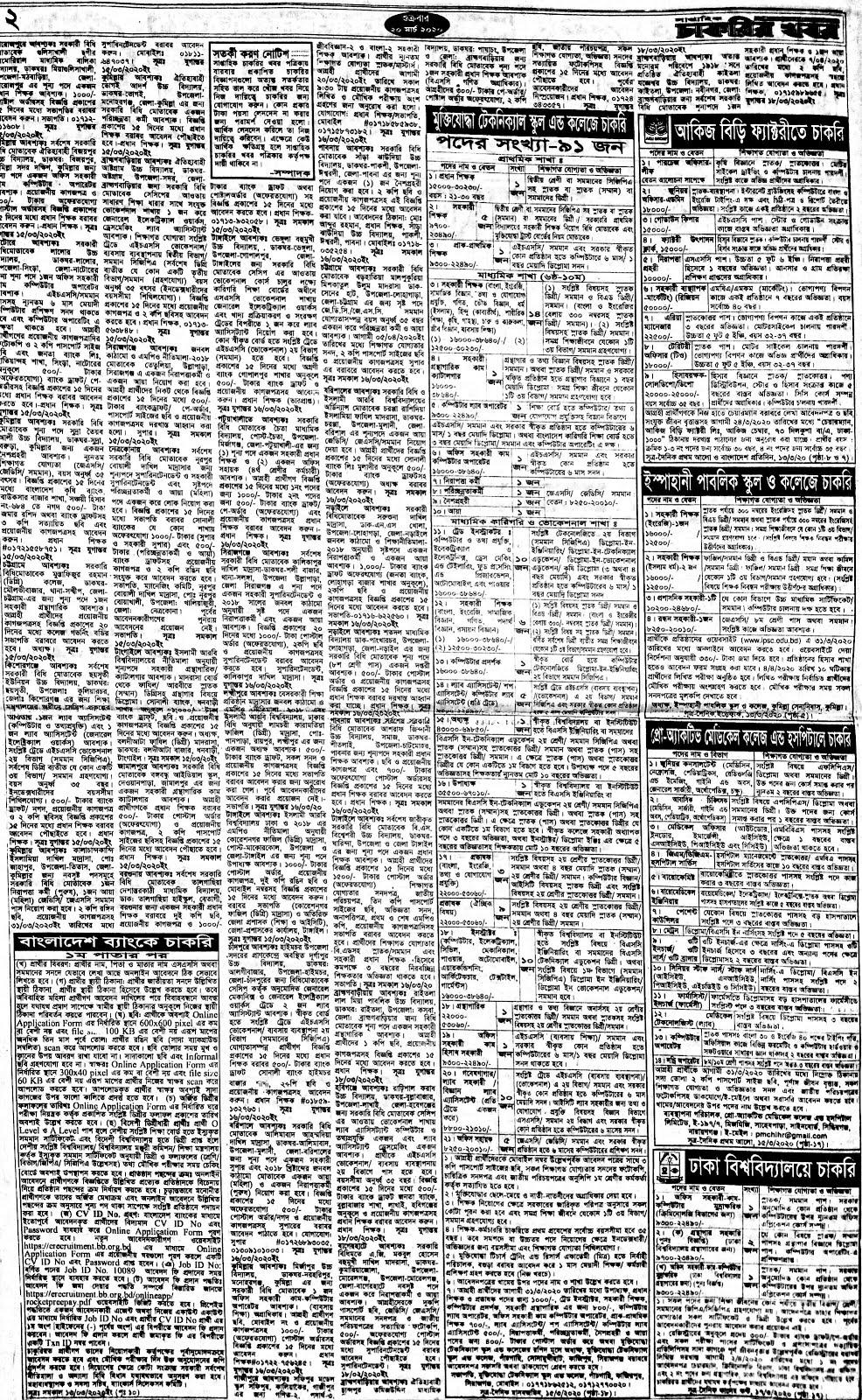সাপ্তাহিক চাকরির খবর পত্রিকা ৫ জুন ২০২০ - Saptahik Chakrir Khobor Newspaper 05 June 2020