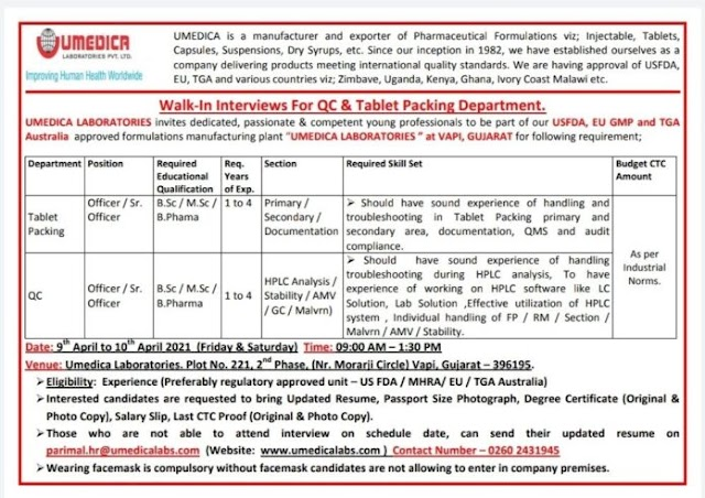 Umedica Labs| Walk-in interview for Packing/QC on 9-10th April 2021