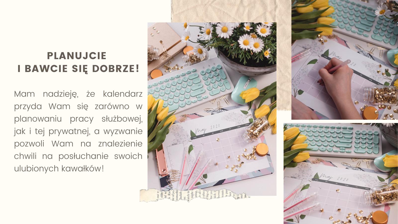 5 darmowy kalendarz do druku jak zrobić 30-dniowe wyzwanie muzyczne na instagramie instastory kalendarz ładny kolorowy maj 2020 do druku darmowy do pobrania kwiaty kobiecy dla dziewczyny
