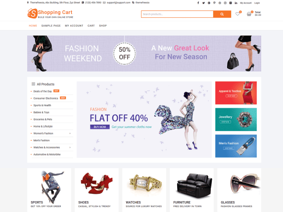 ShoppingCart | Top 10 Best Free Ecommerce Themes For WordPress Online Store