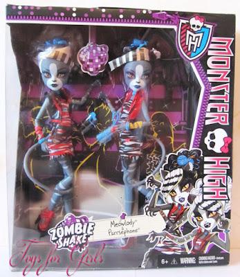 Две кошки Мяулодия и Пурсефона в коробке Монстер Хай. Серия игрушек Зомби Шейк