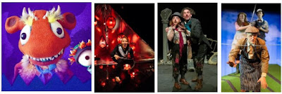 Collage of 4 photos from plays listed below