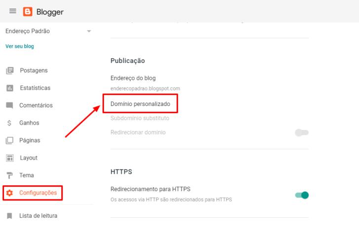 personalizando domínio no blogger