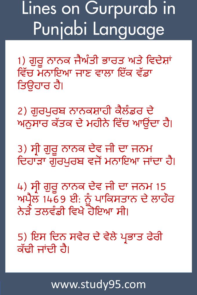 Lines on Gurpurab in Punjabi Language - Study95