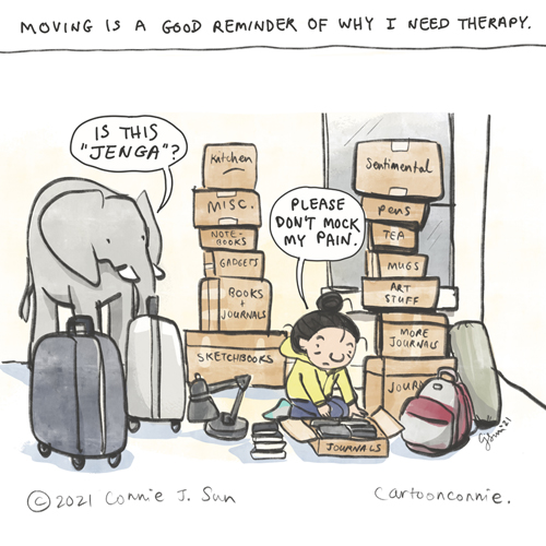 Sketchbook drawing, personal update, cartoon about moving, packing, by Connie Sun, cartoonconnie