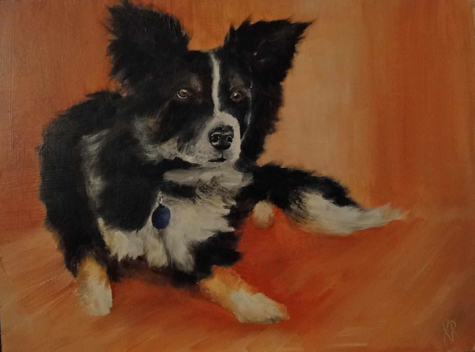 oil painting of a border collie - his distinctive stare. A pet portrait by Karen.
