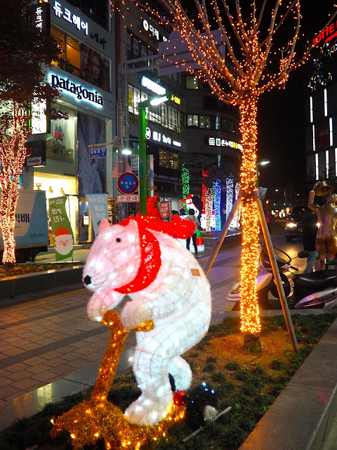 Tree and polar bear Christmas lights in Nampo, Busan, South Korea