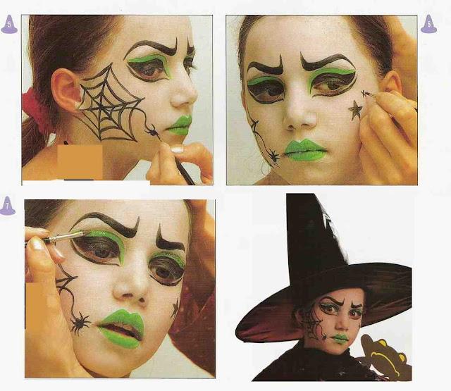 como hacer un maquillaje de bruja mala para niña