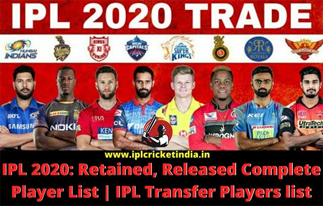 IPL 2020: Retained, Released Complete Player List | ipl transfer players list
