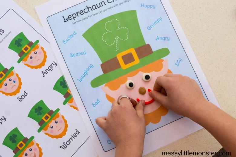 leprechaun emotions playdough mat