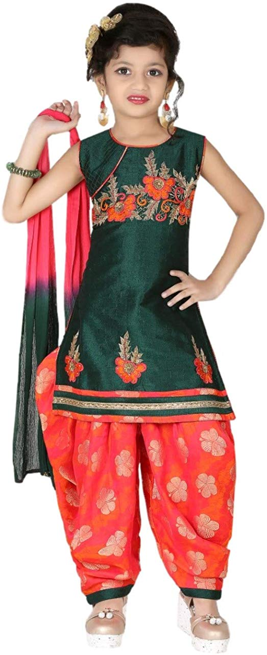 Baba & Baby Girls Patiala Dress With Dupatta