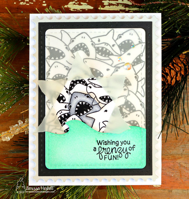 Crowd of Sharks card by Larissa Heskett | Shark Frenzy Stamp Set by Newton's Nook Designs #newtonsnook #handmade