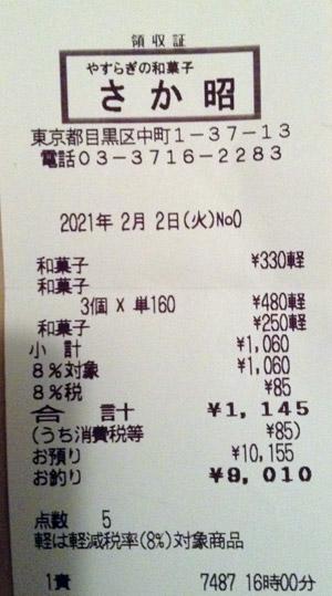 さか昭 本店 2021/2/2 のレシート