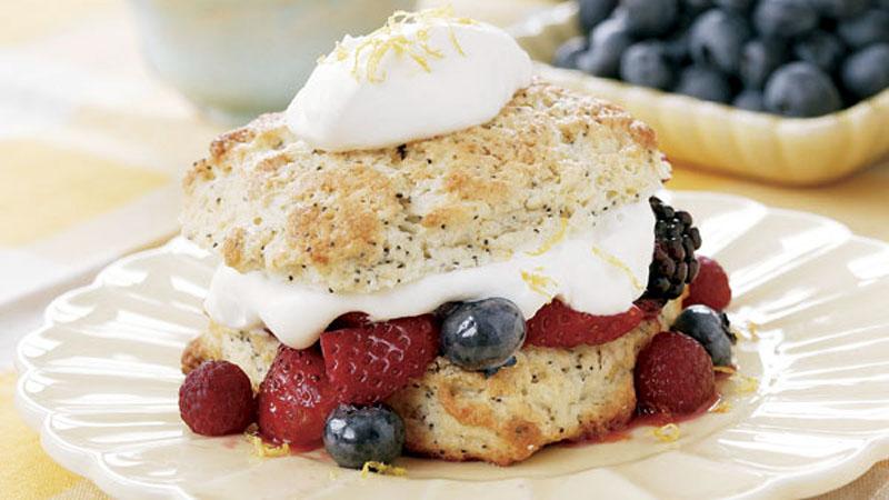 Lemon-Poppyseed Shortcakes with Summer Berries