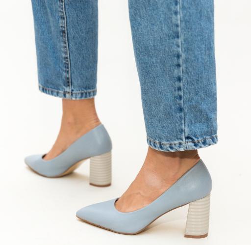 Pantofi albastri eleganti cu toc gros de zi