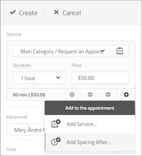 Add multiple service and spacing to an appointment