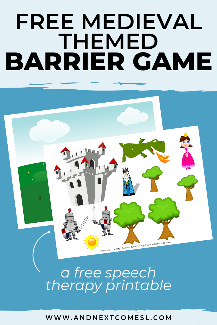 Free speech therapy barrier game: medieval themed