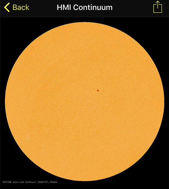 Now on Monday morning just one sunspot shows up in iPhone app (Source: NASA via SoHO app)