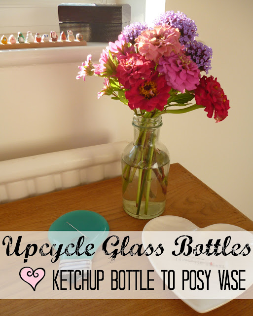 Old Ketchup Bottle to Flower Posy Vase