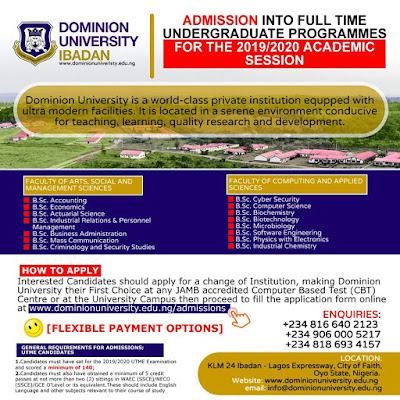 Dominion University Ibadan Post-UTME Screening Form 2019/2020