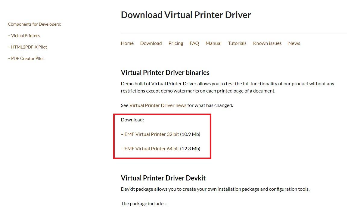 下載EMF虛擬印表機軟體